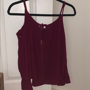 Burgundy long sleeve open shoulder top